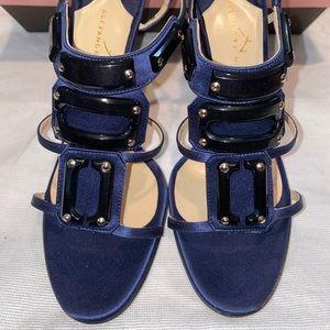 🆕 Alexandra Neel Stanley Satin Navy/Black heels